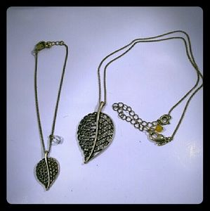 Jewelry - SAQ Leaf Necklace and Bracelet Set Bronze Colored
